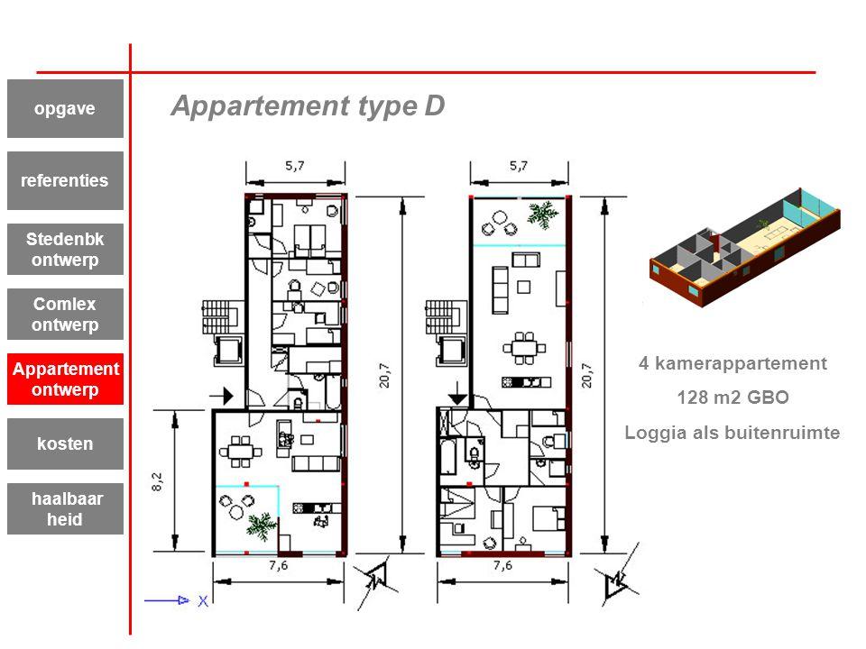Appartement type D 4 kamerappartement 128 m2 GBO Loggia als buitenruimte Appartement ontwerp kosten haalbaar heid referenties Stedenbk ontwerp Comlex
