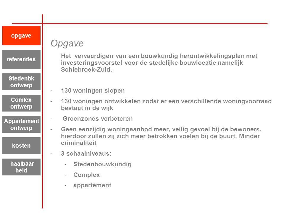 Opgave Het vervaardigen van een bouwkundig herontwikkelingsplan met investeringsvoorstel voor de stedelijke bouwlocatie namelijk Schiebroek-Zuid. -130