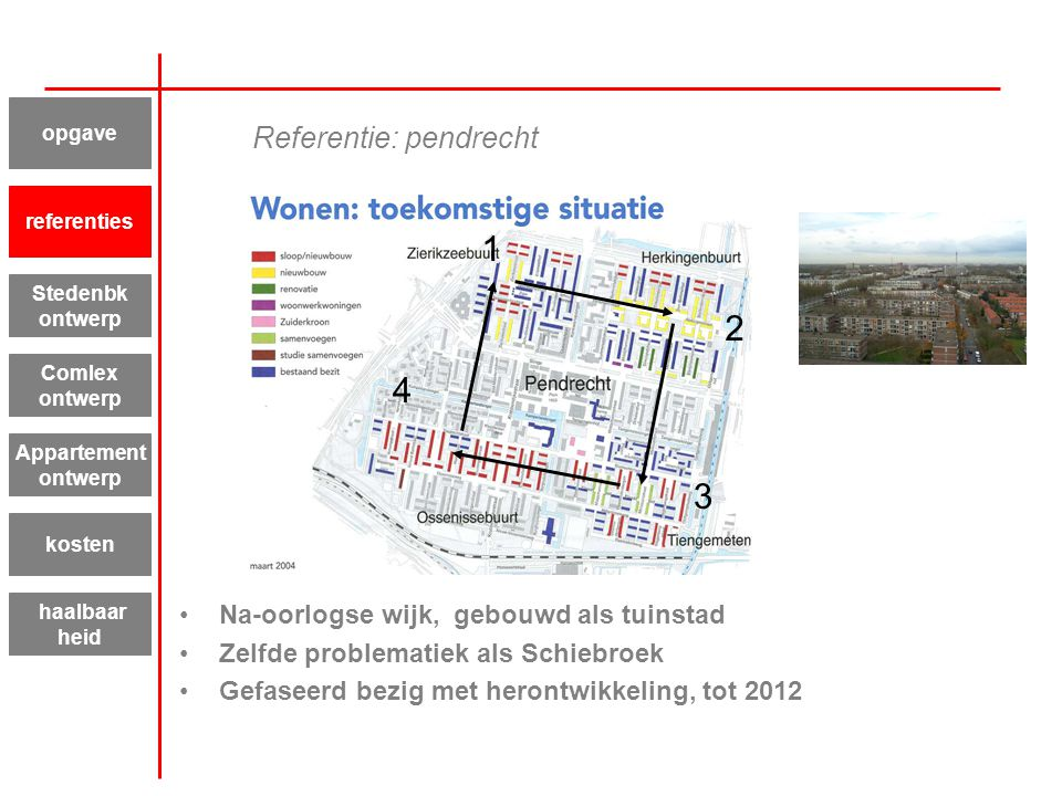 Referentie: pendrecht Na-oorlogse wijk, gebouwd als tuinstad Zelfde problematiek als Schiebroek Gefaseerd bezig met herontwikkeling, tot 2012 Appartem