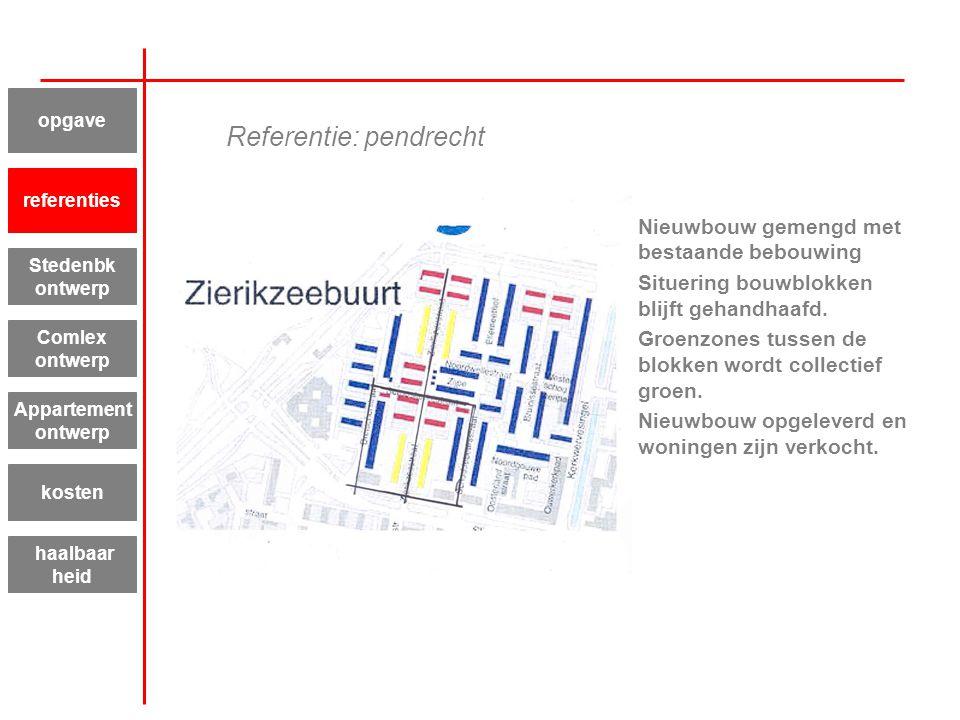 Referentie: pendrecht Nieuwbouw gemengd met bestaande bebouwing Situering bouwblokken blijft gehandhaafd. Groenzones tussen de blokken wordt collectie