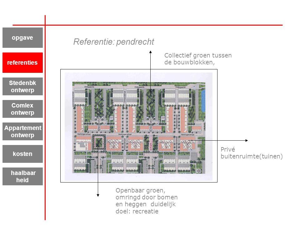 Privé buitenruimte(tuinen) Collectief groen tussen de bouwblokken, Openbaar groen, omringd door bomen en heggen duidelijk doel: recreatie Referentie: