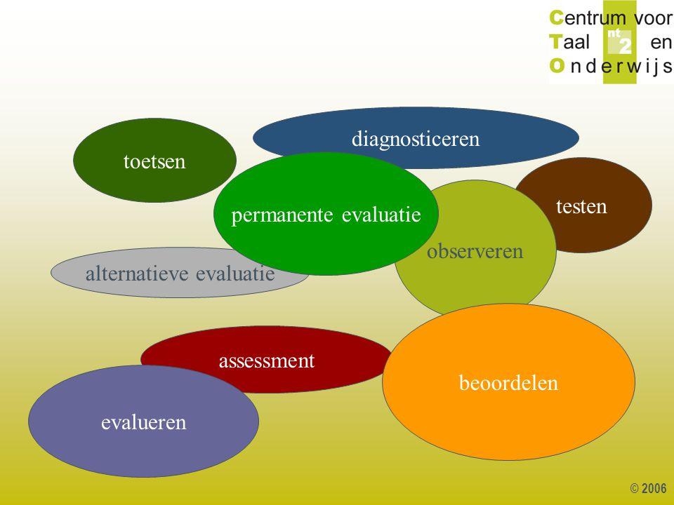 © 2006 testen toetsen assessment observeren alternatieve evaluatie diagnosticeren beoordelen evalueren permanente evaluatie