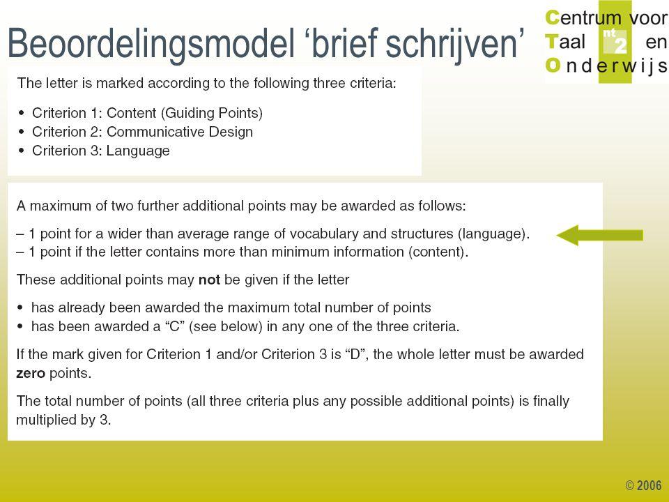 © 2006 Beoordelingsmodel 'brief schrijven'