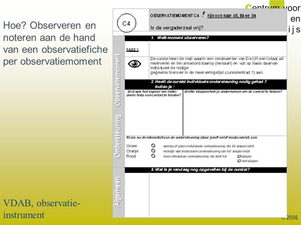 © 2006 Hoe? Observeren en noteren aan de hand van een observatiefiche per observatiemoment VDAB, observatie- instrument