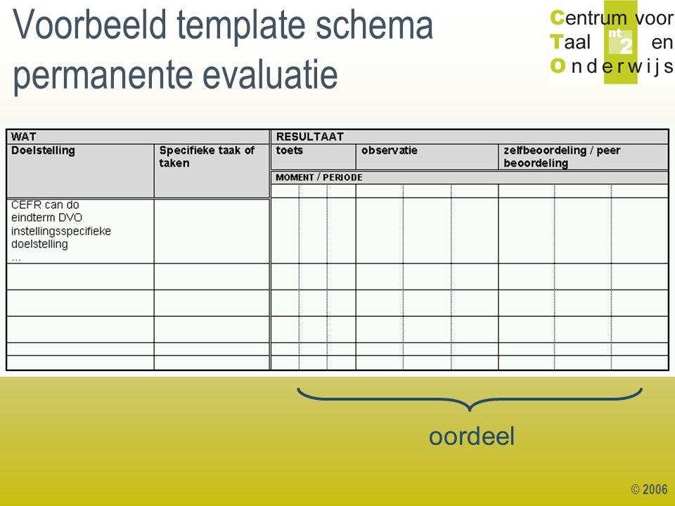 © 2006 Voorbeeld template schema permanente evaluatie oordeel