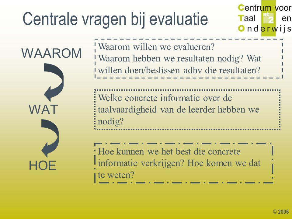 © 2006 Centrale vragen bij evaluatie WAAROM WAT HOE Waarom willen we evalueren? Waarom hebben we resultaten nodig? Wat willen doen/beslissen adhv die