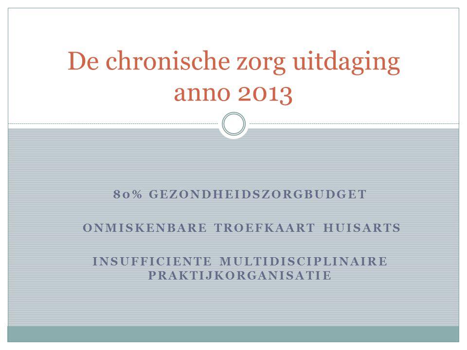 80% GEZONDHEIDSZORGBUDGET ONMISKENBARE TROEFKAART HUISARTS INSUFFICIENTE MULTIDISCIPLINAIRE PRAKTIJKORGANISATIE De chronische zorg uitdaging anno 2013