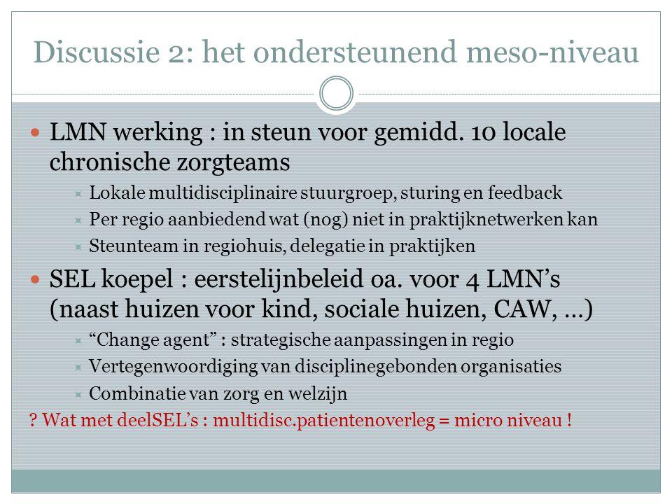 Discussie 2: het ondersteunend meso-niveau LMN werking : in steun voor gemidd.