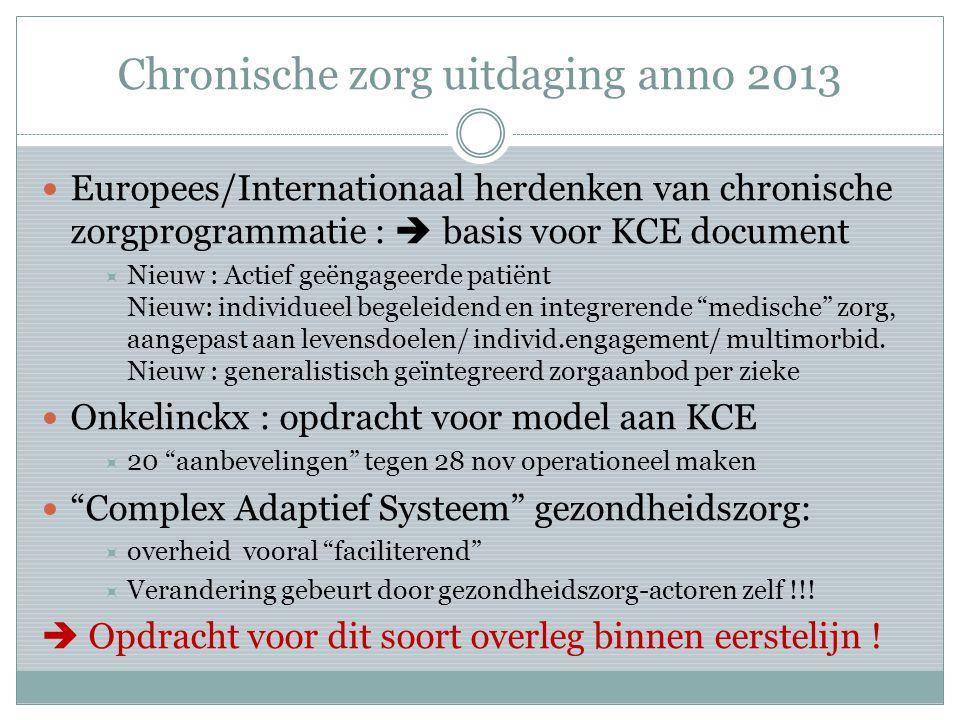 Chronische zorg uitdaging anno 2013 Europees/Internationaal herdenken van chronische zorgprogrammatie :  basis voor KCE document  Nieuw : Actief geëngageerde patiënt Nieuw: individueel begeleidend en integrerende medische zorg, aangepast aan levensdoelen/ individ.engagement/ multimorbid.