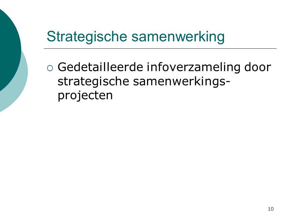 10 Strategische samenwerking  Gedetailleerde infoverzameling door strategische samenwerkings- projecten
