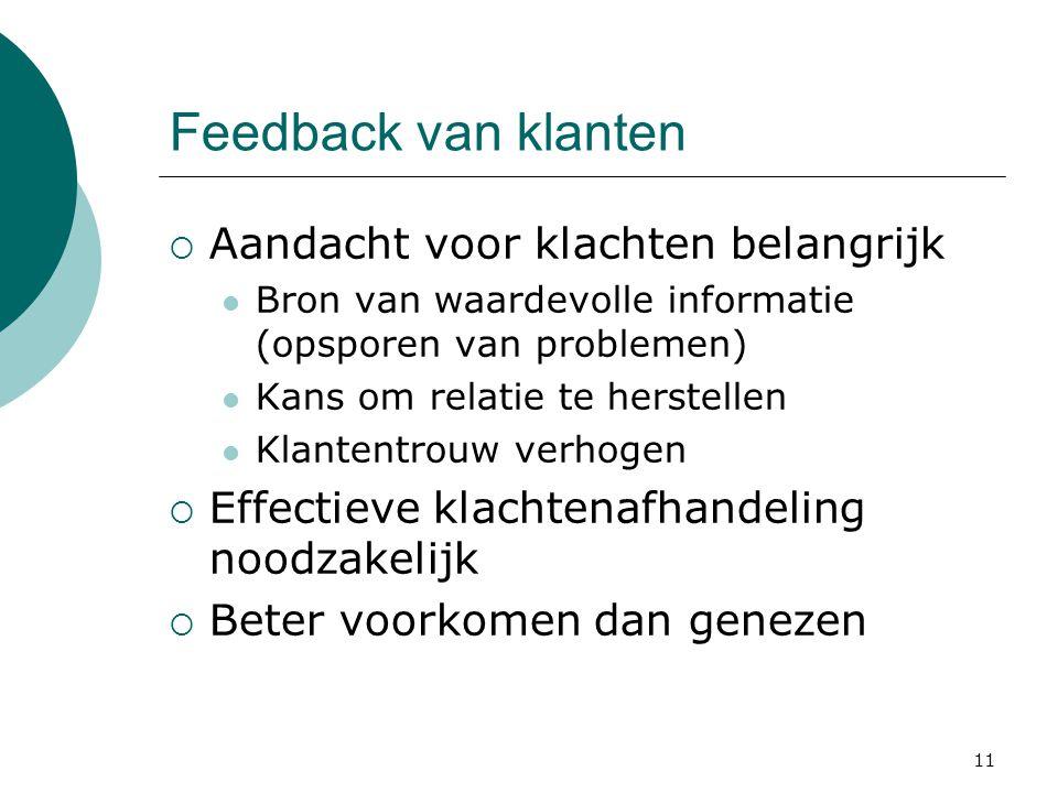 11 Feedback van klanten  Aandacht voor klachten belangrijk Bron van waardevolle informatie (opsporen van problemen) Kans om relatie te herstellen Kla