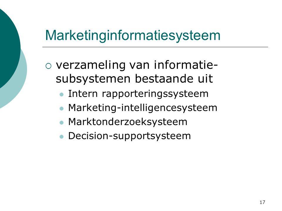 17 Marketinginformatiesysteem  verzameling van informatie- subsystemen bestaande uit Intern rapporteringssysteem Marketing-intelligencesysteem Markto