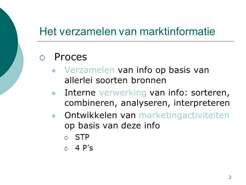 2 Het verzamelen van marktinformatie  Proces Verzamelen van info op basis van allerlei soorten bronnen Interne verwerking van info: sorteren, combine