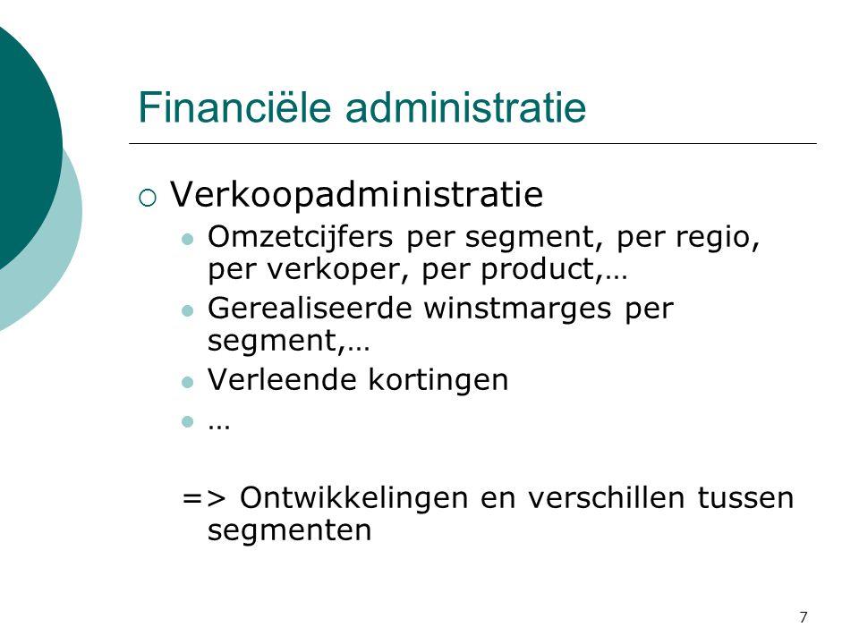 7 Financiële administratie  Verkoopadministratie Omzetcijfers per segment, per regio, per verkoper, per product,… Gerealiseerde winstmarges per segme