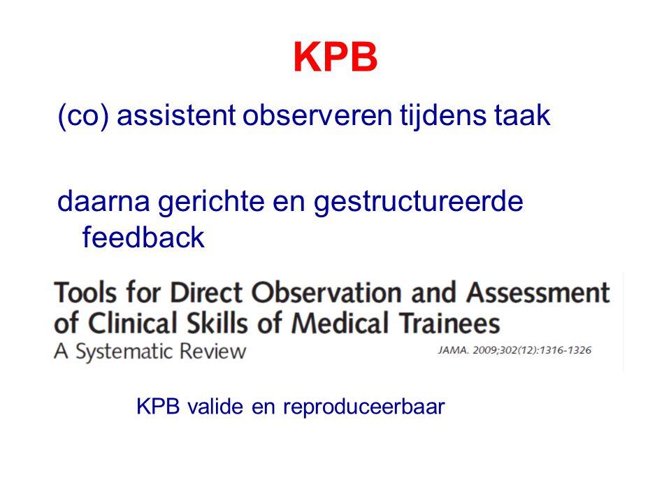 KPB (co) assistent observeren tijdens taak daarna gerichte en gestructureerde feedback KPB valide en reproduceerbaar