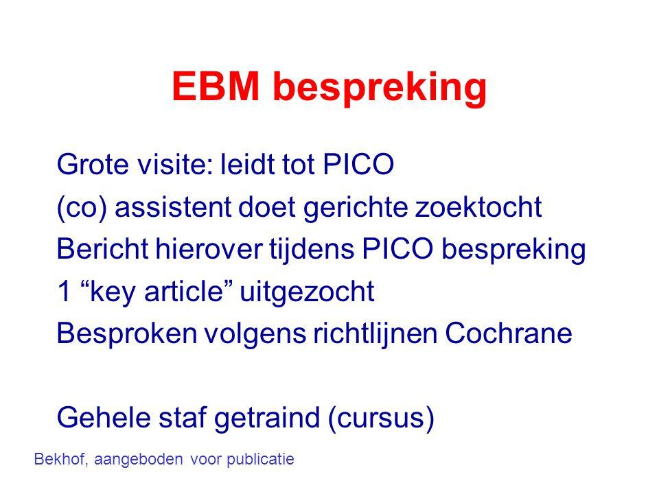 """EBM bespreking Grote visite: leidt tot PICO (co) assistent doet gerichte zoektocht Bericht hierover tijdens PICO bespreking 1 """"key article"""" uitgezocht"""