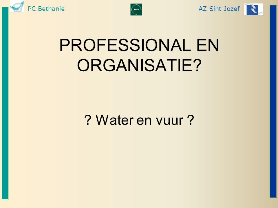 PC BethaniëAZ Sint-Jozef PROFESSIONAL EN ORGANISATIE? ? Water en vuur ?
