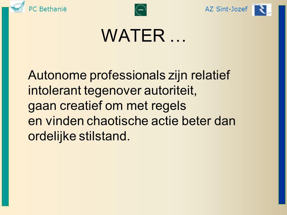 PC BethaniëAZ Sint-Jozef WATER … Autonome professionals zijn relatief intolerant tegenover autoriteit, gaan creatief om met regels en vinden chaotische actie beter dan ordelijke stilstand.
