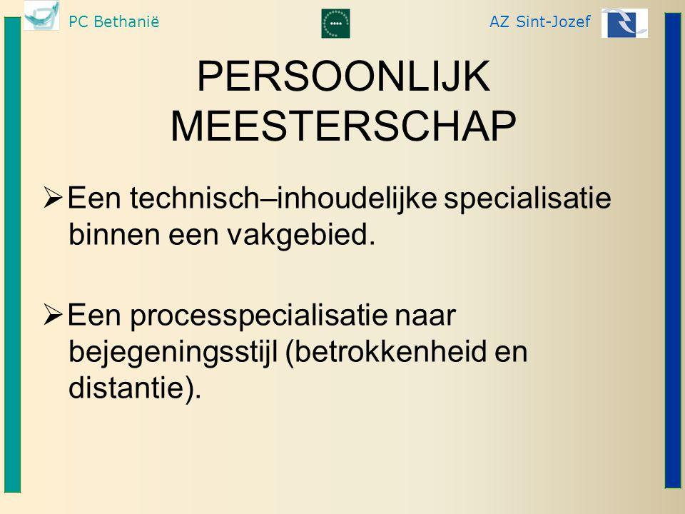 PC BethaniëAZ Sint-Jozef PERSOONLIJK MEESTERSCHAP  Een technisch–inhoudelijke specialisatie binnen een vakgebied.