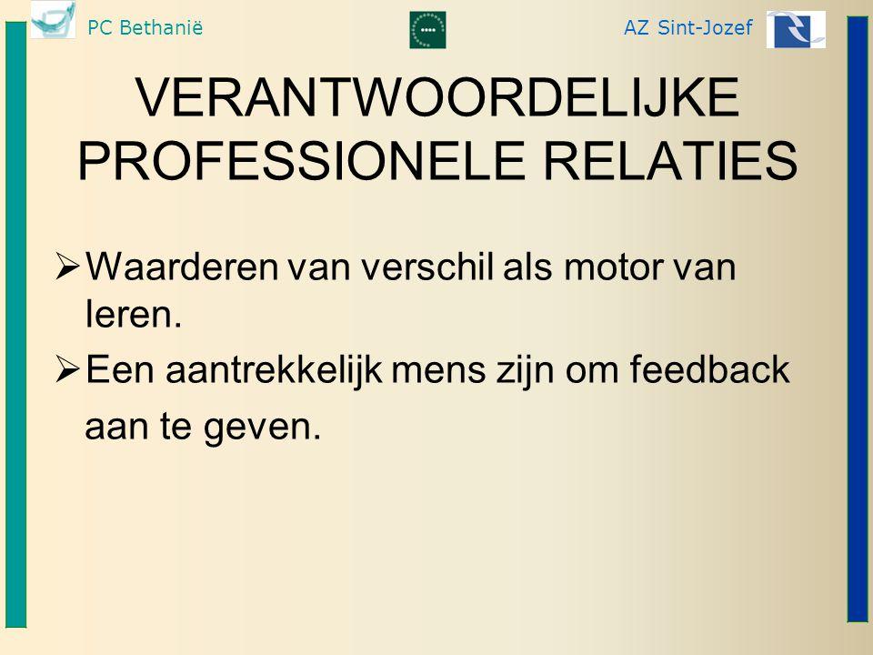 PC BethaniëAZ Sint-Jozef VERANTWOORDELIJKE PROFESSIONELE RELATIES  Waarderen van verschil als motor van leren.