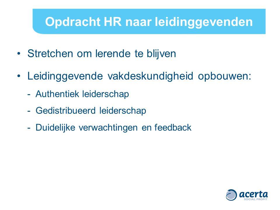 Opdracht HR naar leidinggevenden Stretchen om lerende te blijven Leidinggevende vakdeskundigheid opbouwen: - Authentiek leiderschap - Gedistribueerd leiderschap - Duidelijke verwachtingen en feedback