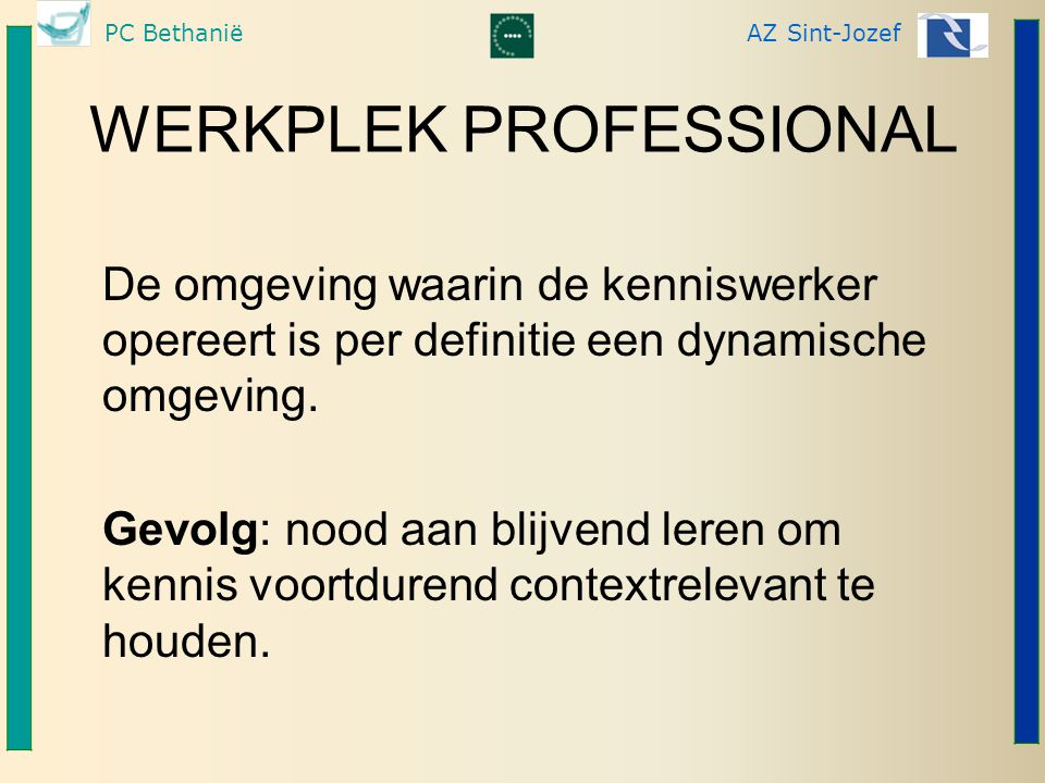 PC BethaniëAZ Sint-Jozef WERKPLEK PROFESSIONAL De omgeving waarin de kenniswerker opereert is per definitie een dynamische omgeving. Gevolg: nood aan