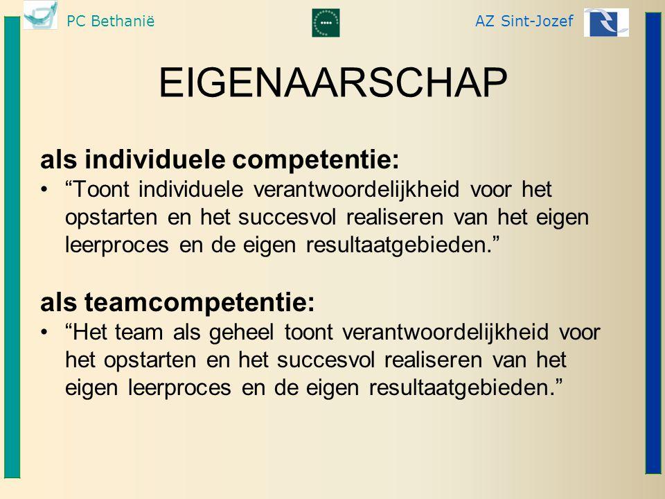 """PC BethaniëAZ Sint-Jozef EIGENAARSCHAP als individuele competentie: """"Toont individuele verantwoordelijkheid voor het opstarten en het succesvol realis"""