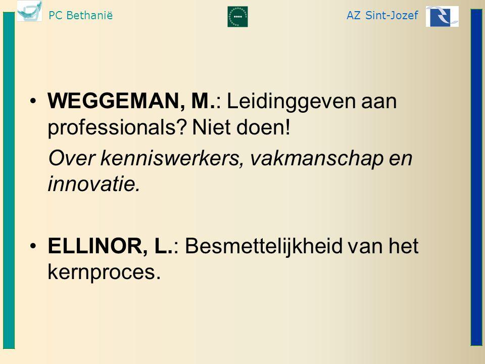 PC BethaniëAZ Sint-Jozef WEGGEMAN, M.: Leidinggeven aan professionals? Niet doen! Over kenniswerkers, vakmanschap en innovatie. ELLINOR, L.: Besmettel