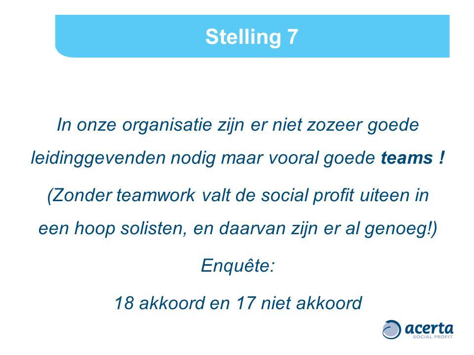 Stelling 7 In onze organisatie zijn er niet zozeer goede leidinggevenden nodig maar vooral goede teams ! (Zonder teamwork valt de social profit uiteen