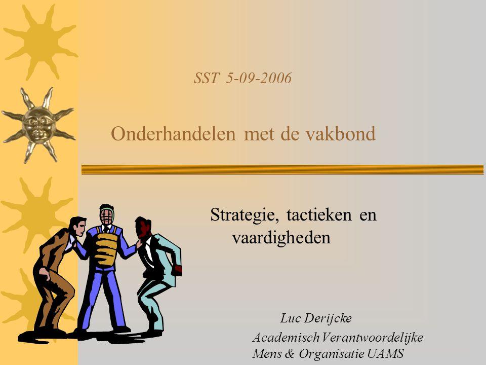 SST 5-09-2006 Onderhandelen met de vakbond Strategie, tactieken en vaardigheden Luc Derijcke Academisch Verantwoordelijke Mens & Organisatie UAMS