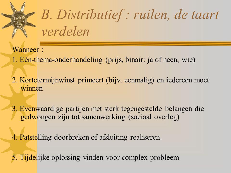 B. Distributief : ruilen, de taart verdelen Wanneer : 1. Eén-thema-onderhandeling (prijs, binair: ja of neen, wie) 2. Kortetermijnwinst primeert (bijv