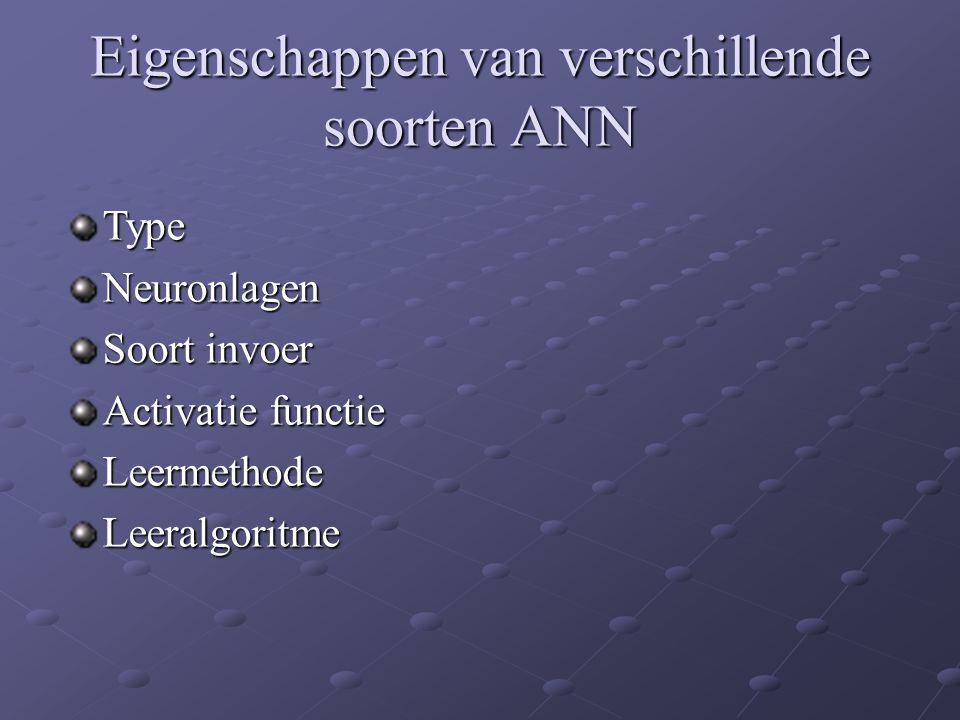 Eigenschappen van verschillende soorten ANN TypeNeuronlagen Soort invoer Activatie functie LeermethodeLeeralgoritme