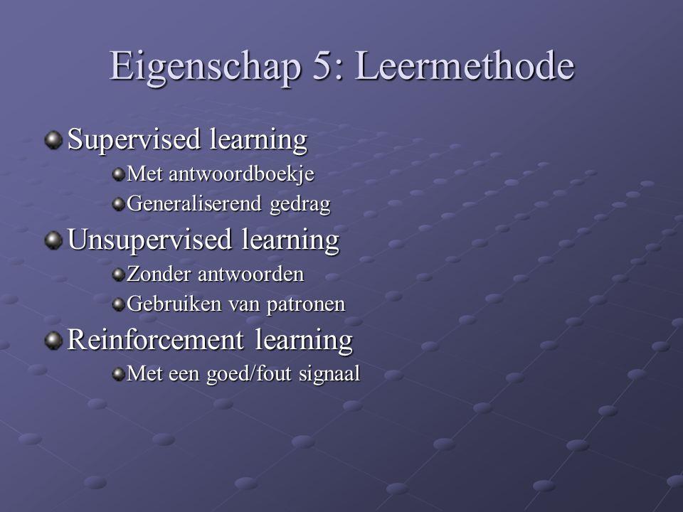 Eigenschap 5: Leermethode Supervised learning Met antwoordboekje Generaliserend gedrag Unsupervised learning Zonder antwoorden Gebruiken van patronen