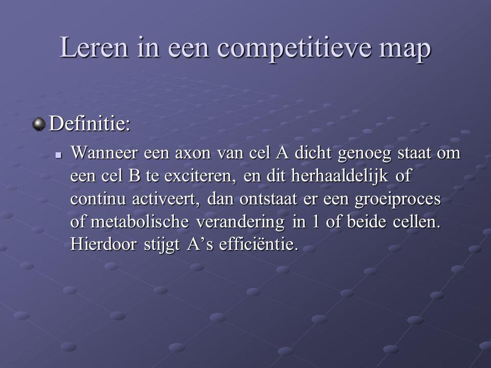 Leren in een competitieve map Definitie: Wanneer een axon van cel A dicht genoeg staat om een cel B te exciteren, en dit herhaaldelijk of continu acti