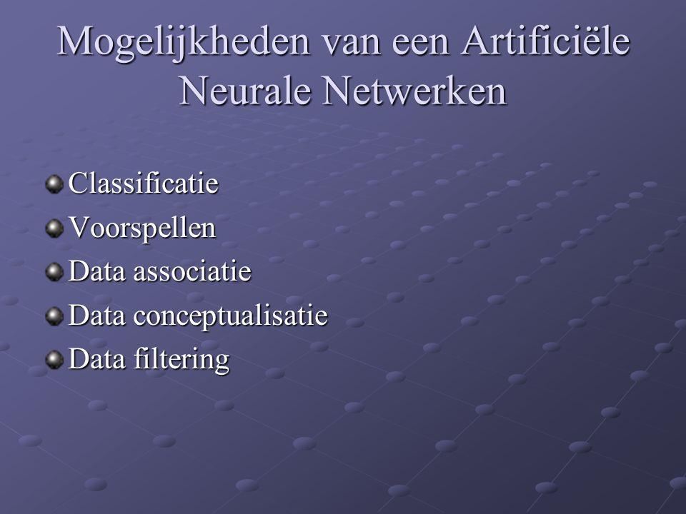 Mogelijkheden van een Artificiële Neurale Netwerken ClassificatieVoorspellen Data associatie Data conceptualisatie Data filtering