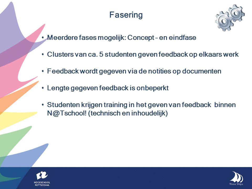 Meerdere fases mogelijk: Concept – en eindfase Clusters van ca.