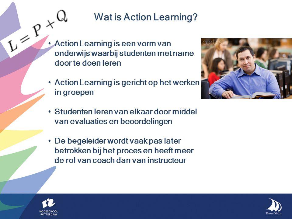 Action Learning is een vorm van onderwijs waarbij studenten met name door te doen leren Action Learning is gericht op het werken in groepen Studenten leren van elkaar door middel van evaluaties en beoordelingen De begeleider wordt vaak pas later betrokken bij het proces en heeft meer de rol van coach dan van instructeur Wat is Action Learning?