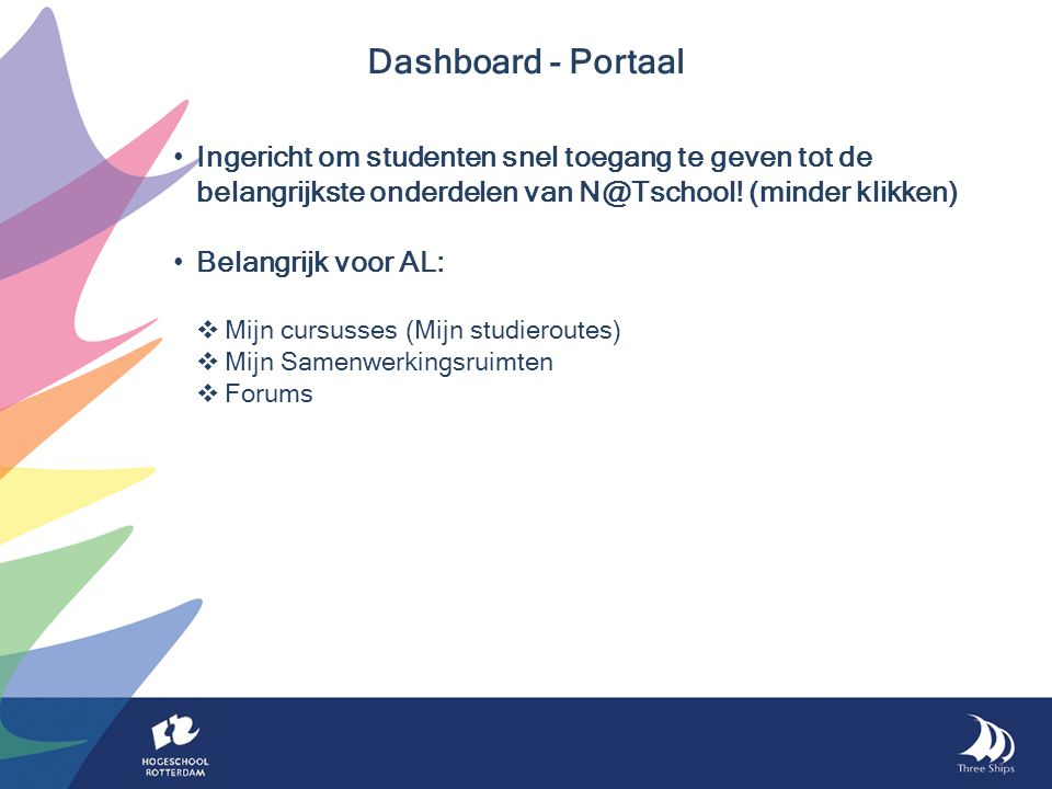 Ingericht om studenten snel toegang te geven tot de belangrijkste onderdelen van N@Tschool.