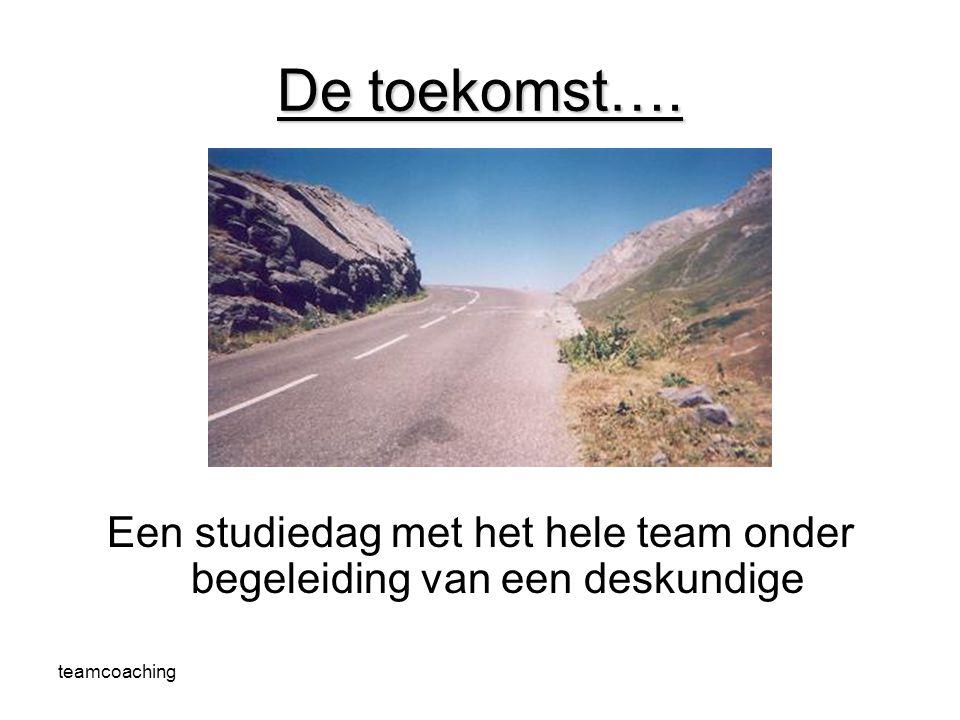 teamcoaching Een studiedag met het hele team onder begeleiding van een deskundige De toekomst….