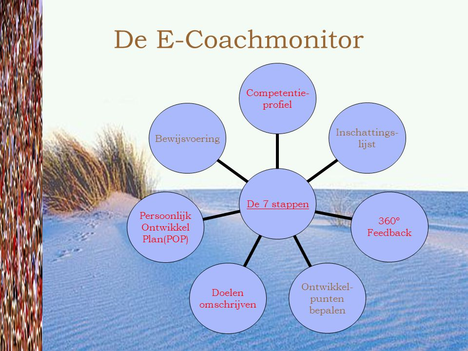 De E-Coachmonitor De 7 stappen Competentie- profiel Inschattings- lijst 360º Feedback Ontwikkel- punten bepalen Doelen omschrijven Persoonlijk Ontwikk