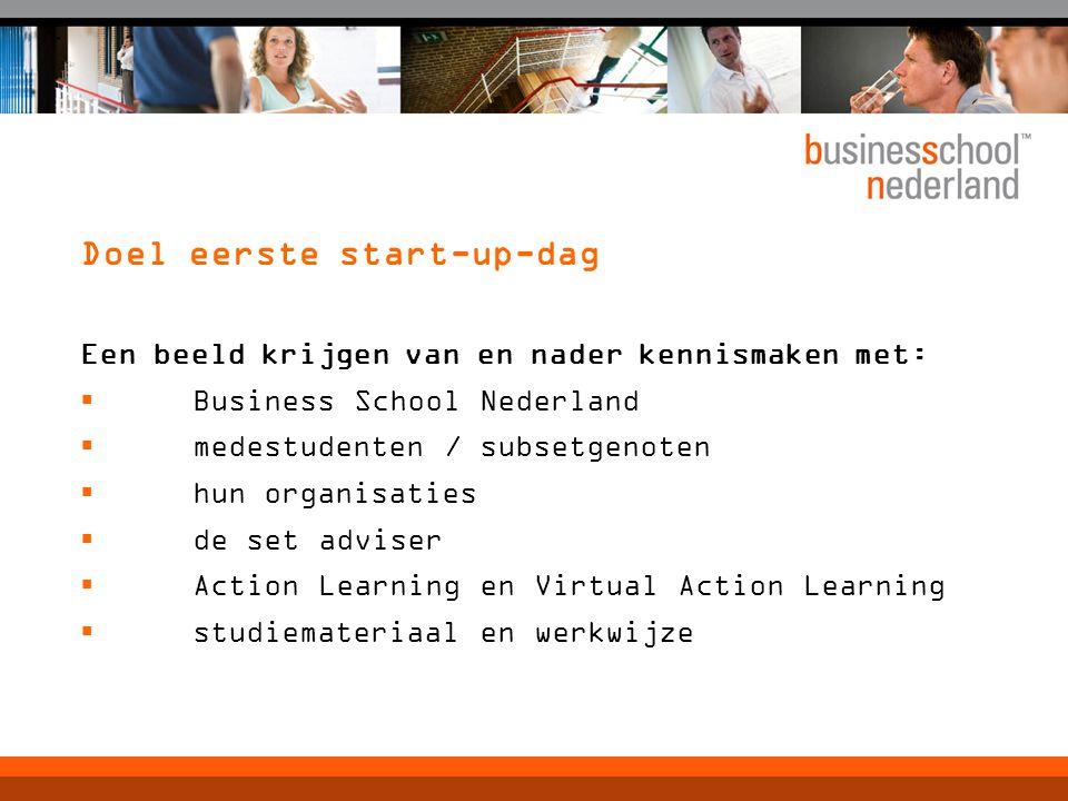Doel eerste start-up-dag Een beeld krijgen van en nader kennismaken met:  Business School Nederland  medestudenten / subsetgenoten  hun organisaties  de set adviser  Action Learning en Virtual Action Learning  studiemateriaal en werkwijze