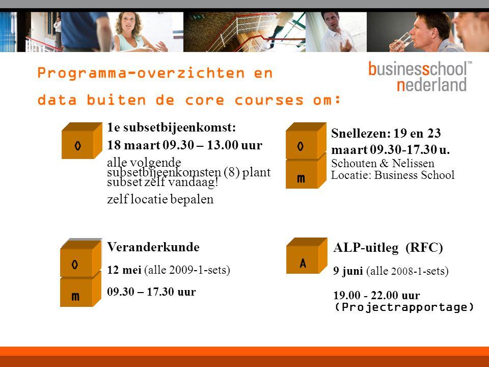 Programma-overzichten en data buiten de core courses om: m O Snellezen: 19 en 23 maart 09.30-17.30 u.