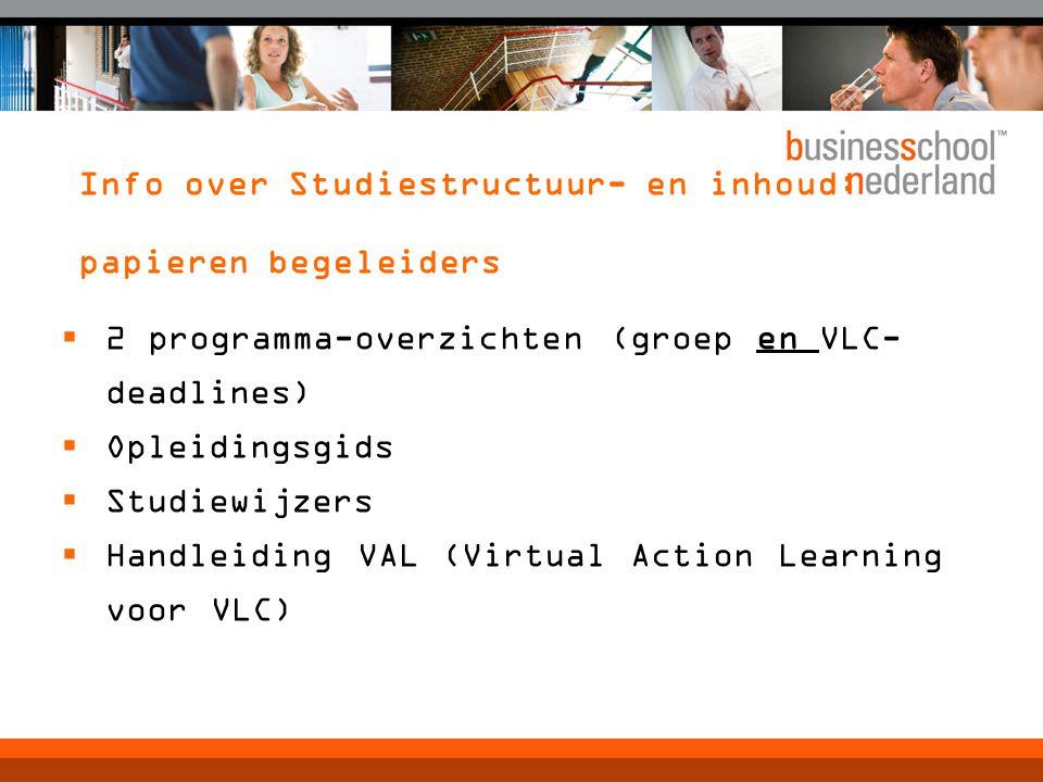 Info over Studiestructuur- en inhoud: papieren begeleiders  2 programma-overzichten (groep en VLC- deadlines)  Opleidingsgids  Studiewijzers  Handleiding VAL (Virtual Action Learning voor VLC)