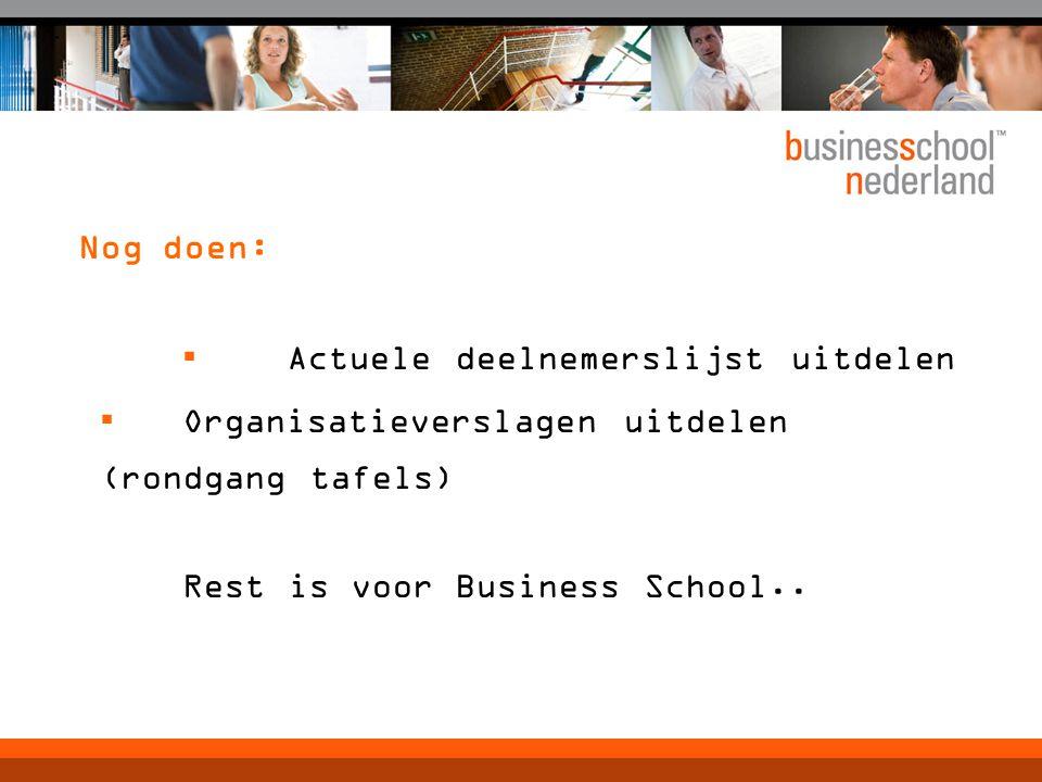 Nog doen: ▪ Actuele deelnemerslijst uitdelen ▪ Organisatieverslagen uitdelen (rondgang tafels) Rest is voor Business School..