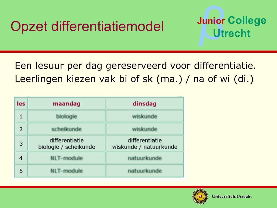 ββ Junior College Utrecht Opzet differentiatiemodel Binnen vak kiezen leerlingen een opdracht : Herhalend, verdiepend of verrijkend Herhalen Inhoud opdrachten: -Niveau vwo plus -Koppeling met WO onderzoeksgebieden