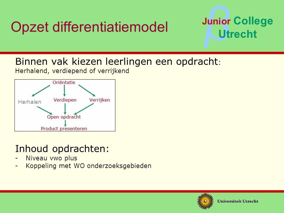 ββ Junior College Utrecht Opzet differentiatiemodel Waardering en beoordeling: - Begeleiding en feedback door docent - Peer feedback via afsluitende Markt - Vermelding gekozen opdrachten op JCU getuigschrift Omvang opdrachten - 10 uur per opdracht - 2 * 5 perioden van keuzeopdrachten - Totale omvang programma: 100 uur
