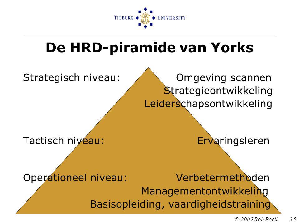 De HRD-piramide van Yorks © 2009 Rob Poell 15 Strategisch niveau: Omgeving scannen Strategieontwikkeling Leiderschapsontwikkeling Tactisch niveau: Ervaringsleren Operationeel niveau: Verbetermethoden Managementontwikkeling Basisopleiding, vaardigheidstraining