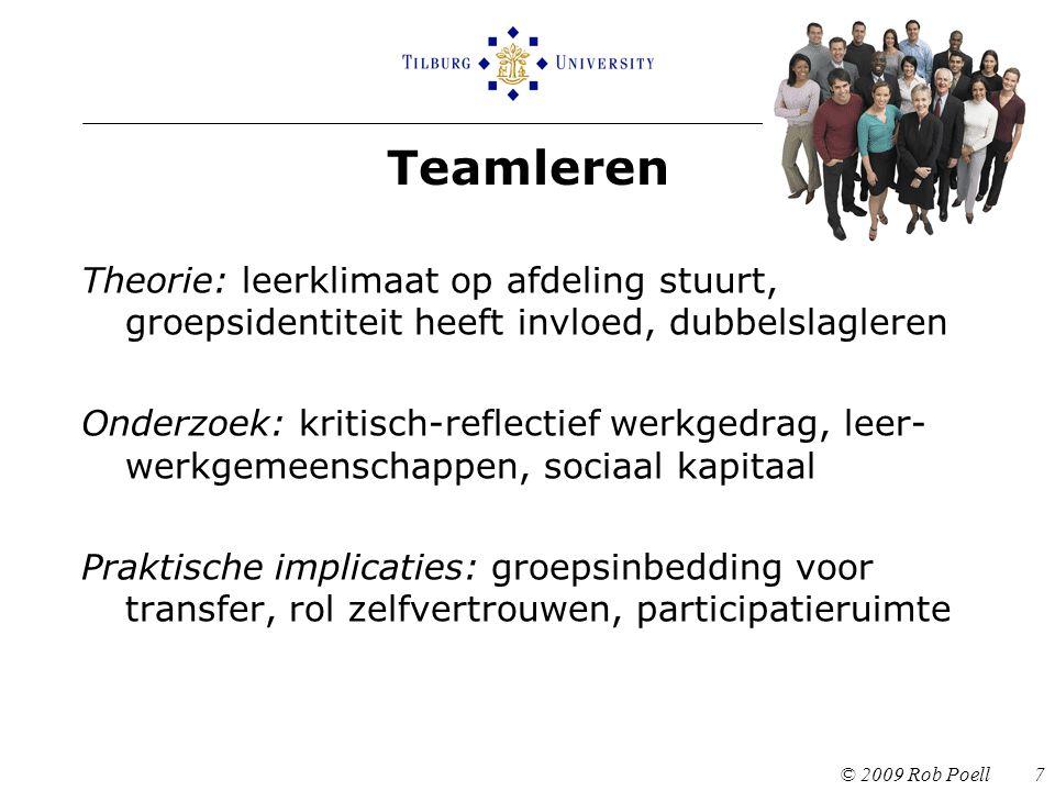Teamleren © 2009 Rob Poell 7 Theorie: leerklimaat op afdeling stuurt, groepsidentiteit heeft invloed, dubbelslagleren Onderzoek: kritisch-reflectief w