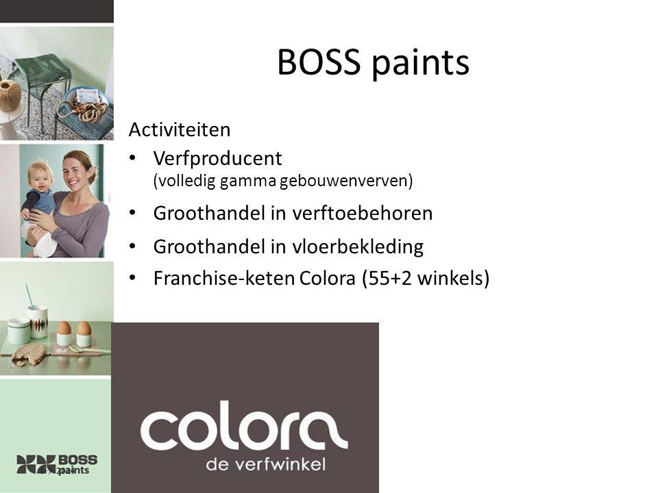 8-7-20142 BOSS paints Activiteiten Verfproducent (volledig gamma gebouwenverven) Groothandel in verftoebehoren Groothandel in vloerbekleding Franchise-keten Colora (55+2 winkels)