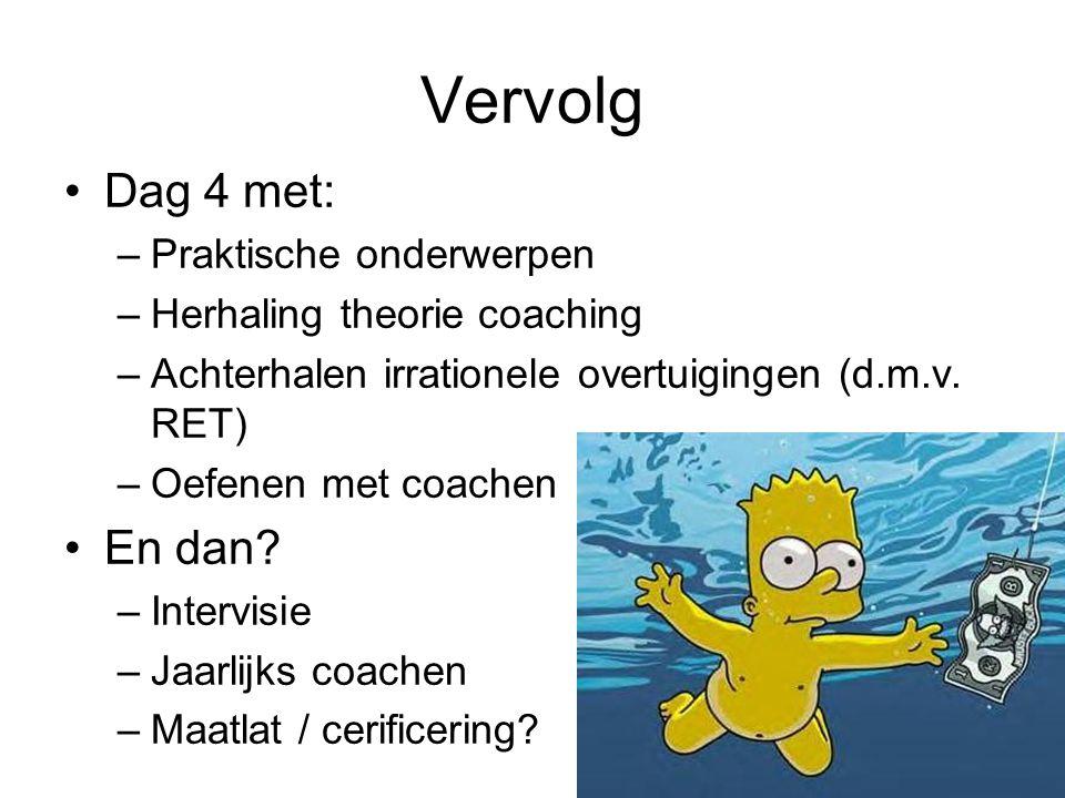Vervolg Dag 4 met: –Praktische onderwerpen –Herhaling theorie coaching –Achterhalen irrationele overtuigingen (d.m.v.